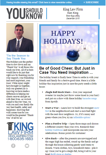 Jacksonville Personal Injury Lawyer Newsletters | King Law Firm
